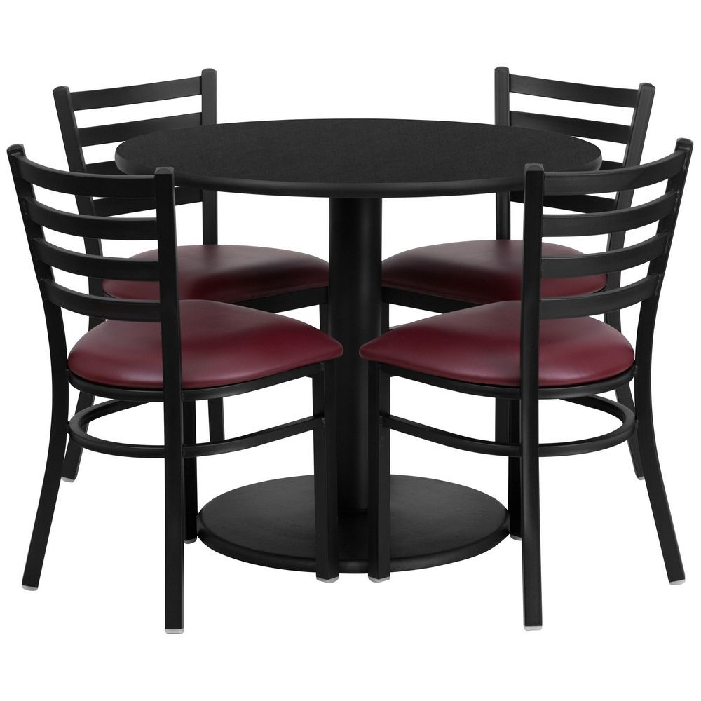 "Flash Furniture RSRB1005-GG 36"" Round Black Laminate Table Set with 4 Ladder Back Metal Chairs - Burgundy Vinyl Seat"