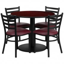 Flash Furniture RSRB1006-GG 36'' Round Mahogany Laminate Table Set with 4 Ladder Back Metal Chairs - Burgundy Vinyl Seat