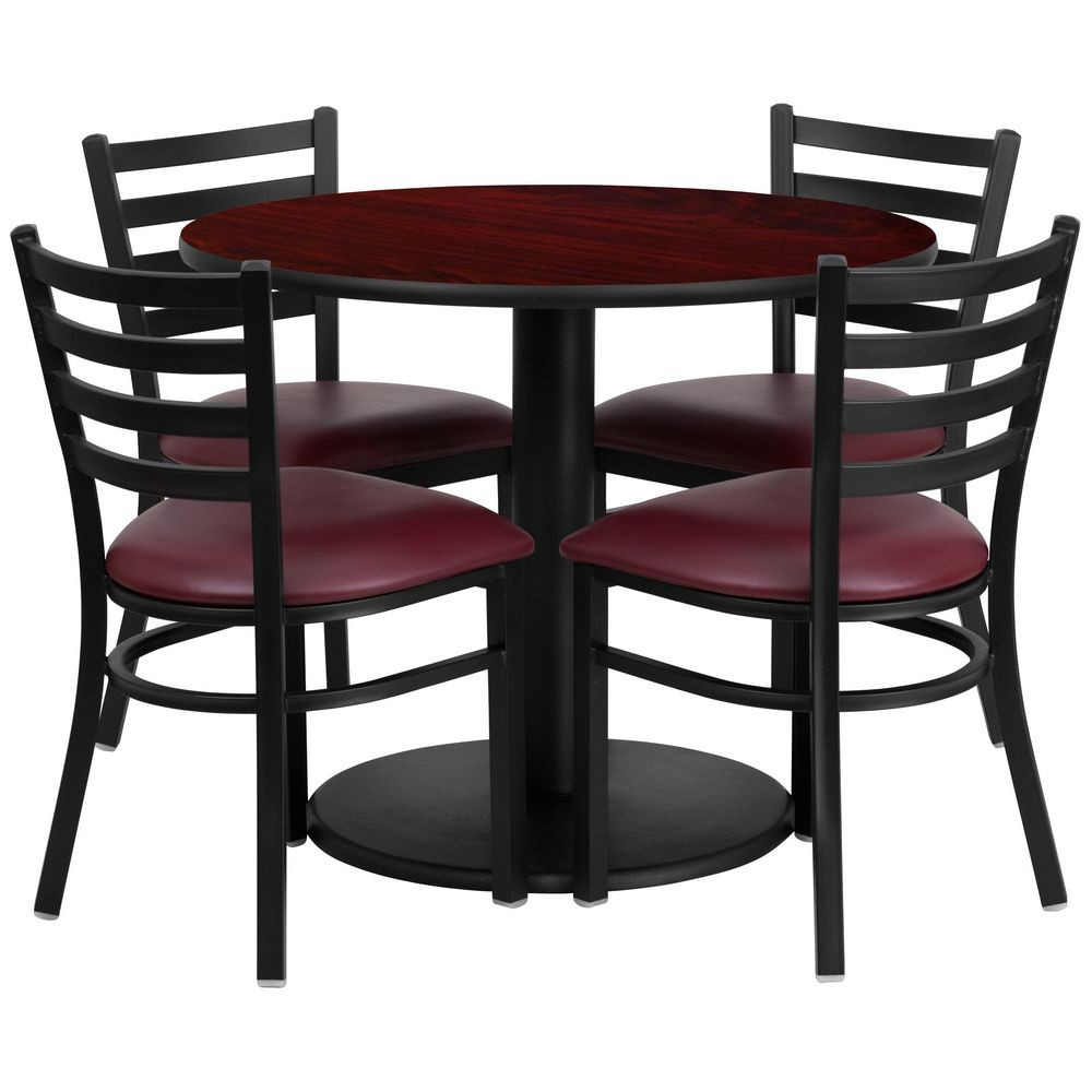 "Flash Furniture RSRB1006-GG 36"" Round Mahogany Laminate Table Set with 4 Ladder Back Metal Chairs - Burgundy Vinyl Seat"