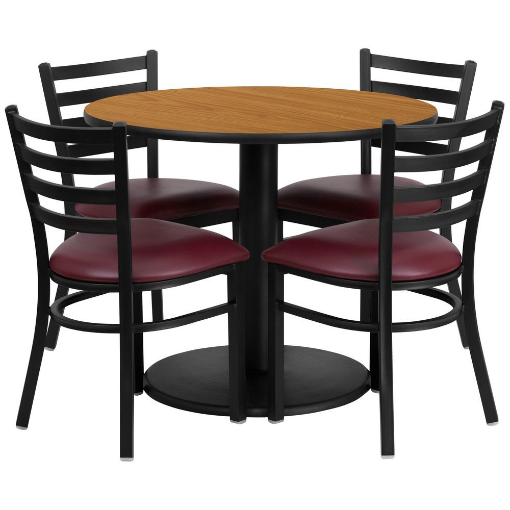 "Flash Furniture RSRB1007-GG 36"" Round Natural Laminate Table Set with 4 Ladder Back Metal Chairs - Burgundy Vinyl Seat"