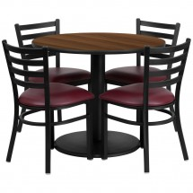 Flash Furniture RSRB1008-GG 36'' Round Walnut Laminate Table Set with 4 Ladder Back Metal Chairs - Burgundy Vinyl Seat