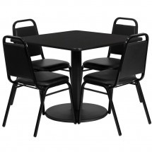 Flash Furniture RSRB1009-GG 36'' Square Black Laminate Table Set with 4 Black Trapezoidal Back Banquet Chairs