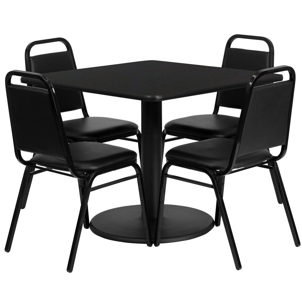 Flash Furniture RSRB1009-GG Square Black Laminate Table Set with 4 Black Trapezoidal Back Banquet Chairs 36""