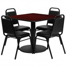 Flash Furniture RSRB1010-GG Square Mahogany Laminate Table Set with 4 Black Trapezoidal Back Banquet Chairs 36""