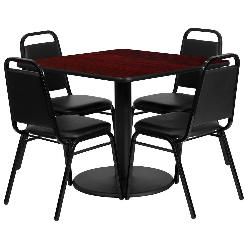 Flash Furniture RSRB1010-GG 36'' Square Mahogany Laminate Table Set with 4 Black Trapezoidal Back Banquet Chairs