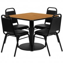 Flash Furniture RSRB1011-GG Square Natural Laminate Table Set with 4 Black Trapezoidal Back Banquet Chairs 36""