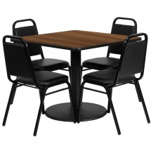 Flash Furniture RSRB1012-GG Square Walnut Laminate Table Set with 4 Black Trapezoidal Back Banquet Chairs 36""