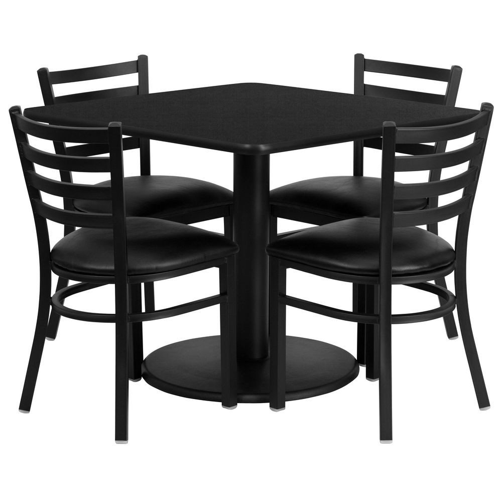 Flash Furniture RSRB1013-GG Square Black Laminate Table Set with 4 Ladder Back Metal Chairs - Black Vinyl Seat 36""