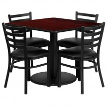 Flash Furniture RSRB1014-GG Square Mahogany Laminate Table Set with 4 Ladder Back Metal Chairs - Black Vinyl Seat 36""