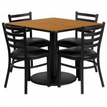 Flash Furniture RSRB1015-GG Square Natural Laminate Table Set with 4 Ladder Back Metal Chairs - Black Vinyl Seat 36""