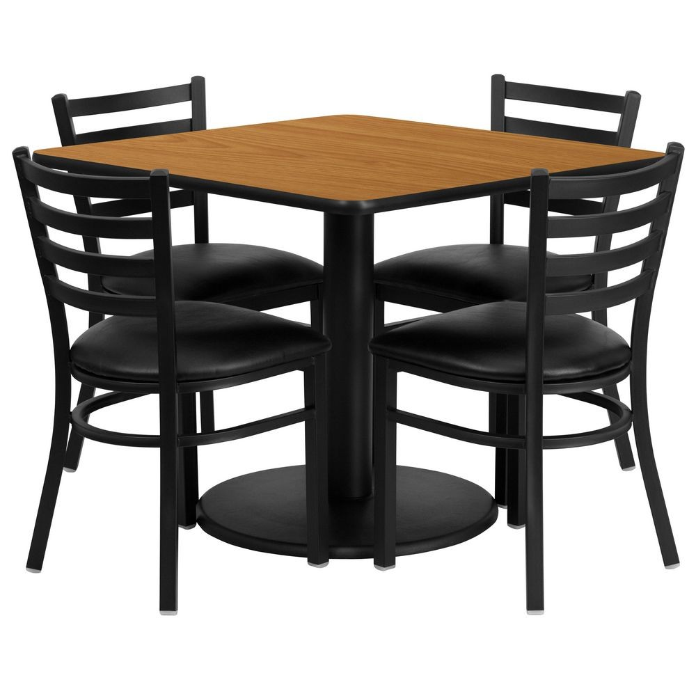 flash furniture rsrb1015 gg square natural laminate table set with 4 ladder back metal chairs. Black Bedroom Furniture Sets. Home Design Ideas