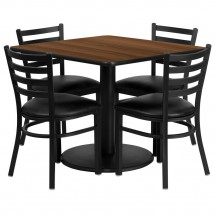 Flash Furniture RSRB1016-GG Square Walnut Laminate Table Set with 4 Ladder Back Metal Chairs - Black Vinyl Seat 36""