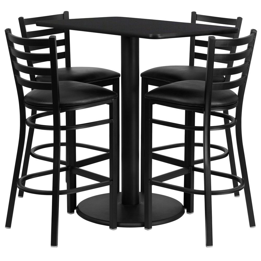 "Flash Furniture RSRB1017-GG Rectangular Black Laminate Table Set with 4 Ladder Back Metal Bar Stools - Black Vinyl Seat 24"" x 42"""