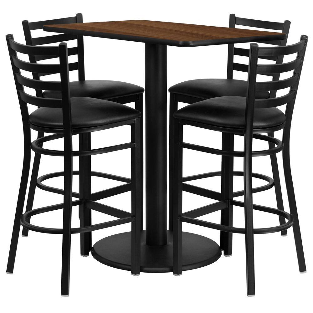 "Flash Furniture RSRB1020-GG Rectangular Walnut Laminate Table Set with 4 Ladder Back Metal Bar Stools - Black Vinyl Seat 24"" x 42"""