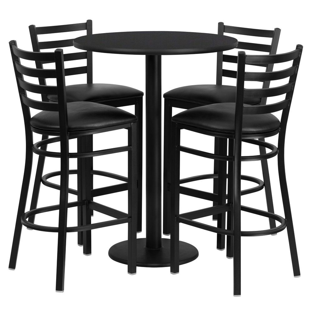 Flash Furniture RSRB1021-GG Round Black Laminate Table Set with 4 Ladder Back Metal Bar Stools - Black Vinyl Seat 30""