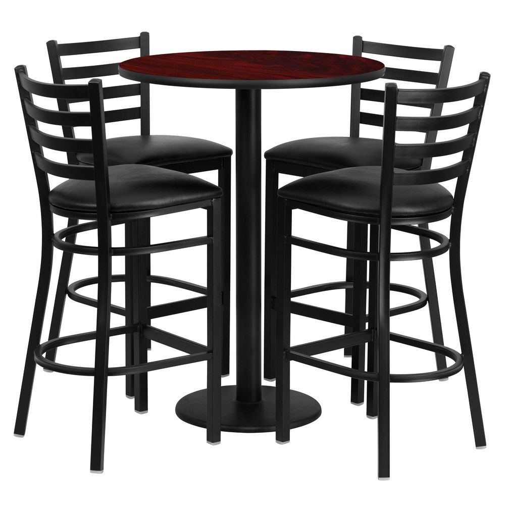 Flash Furniture RSRB1022-GG Round Mahogany Laminate Table Set with 4 Ladder Back Metal Bar Stools - Black Vinyl Seat 30""