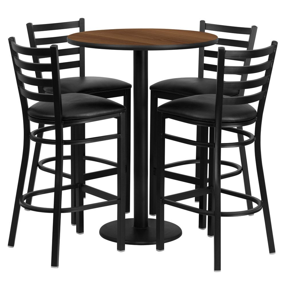Flash Furniture RSRB1024-GG Round Walnut Laminate Table Set with 4 Ladder Back Metal Bar Stools - Black Vinyl Seat 30""