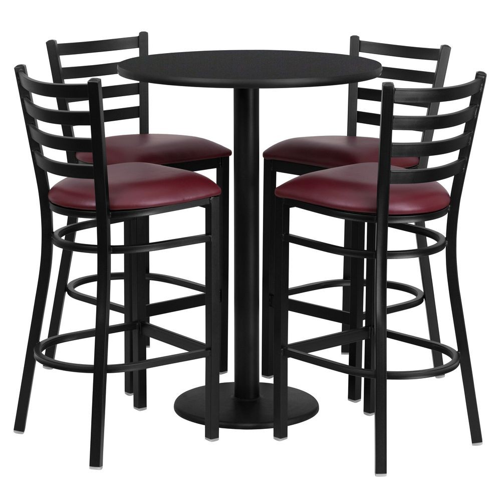 Flash Furniture RSRB1025-GG Round Black Laminate Table Set with 4 Ladder Back Metal Bar Stools - Burgundy Vinyl Seat 30""