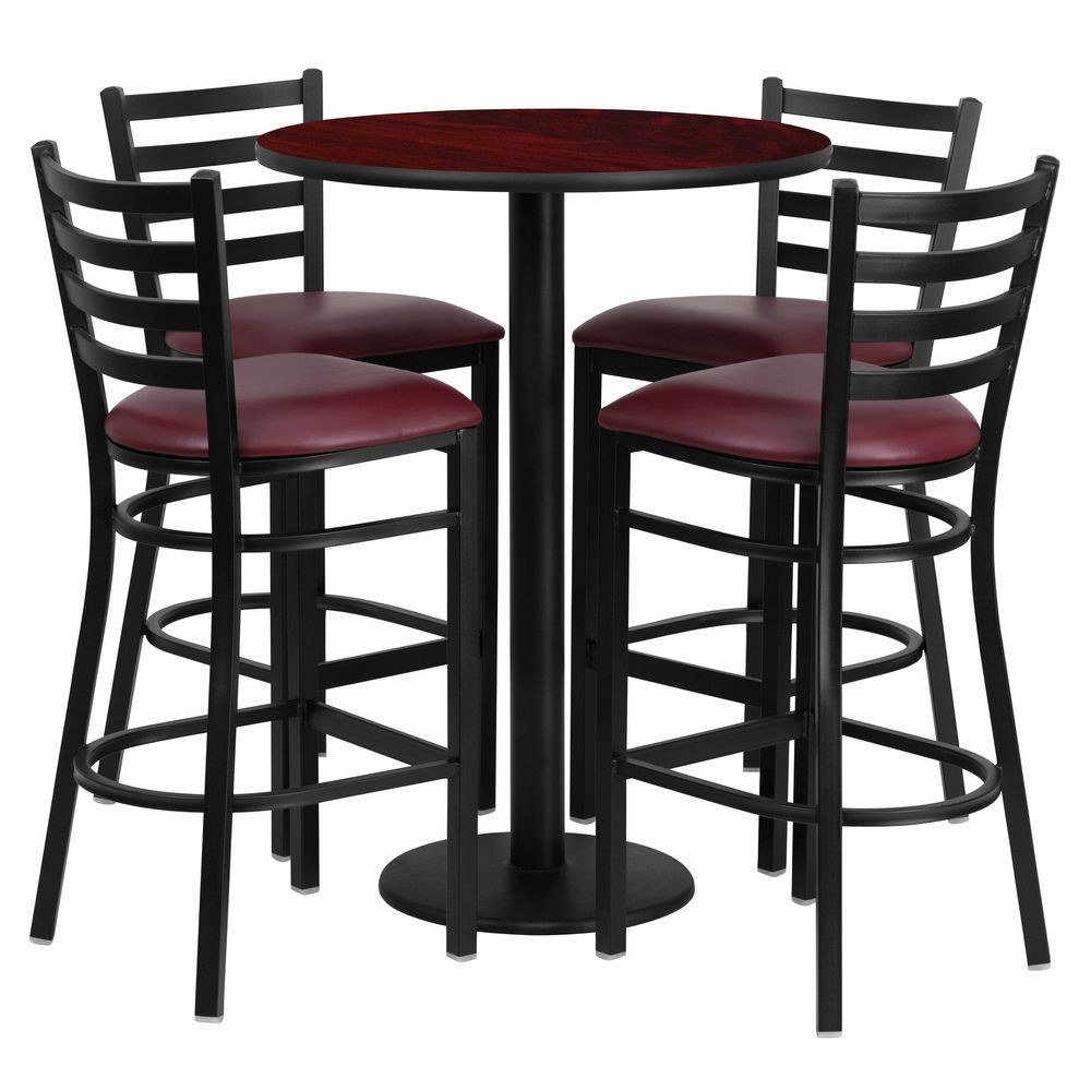 Flash Furniture RSRB1026-GG 30'' Round Mahogany Laminate Table Set with 4 Ladder Back Metal Bar Stools - Burgundy Vinyl Seat