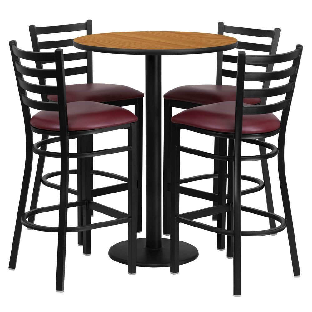 Flash Furniture RSRB1027-GG Round Natural Laminate Table Set with 4 Ladder Back Metal Bar Stools - Burgundy Vinyl Seat 30""