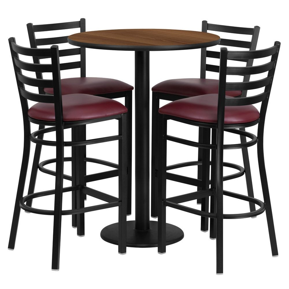 Flash Furniture RSRB1028-GG Round Walnut Laminate Table Set with 4 Ladder Back Metal Bar Stools - Burgundy Vinyl Seat 30""