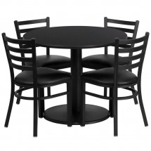 Flash Furniture RSRB1029-GG Round Black Laminate Table Set with 4 Ladder Back Metal Chairs - Black Vinyl Seat 36""