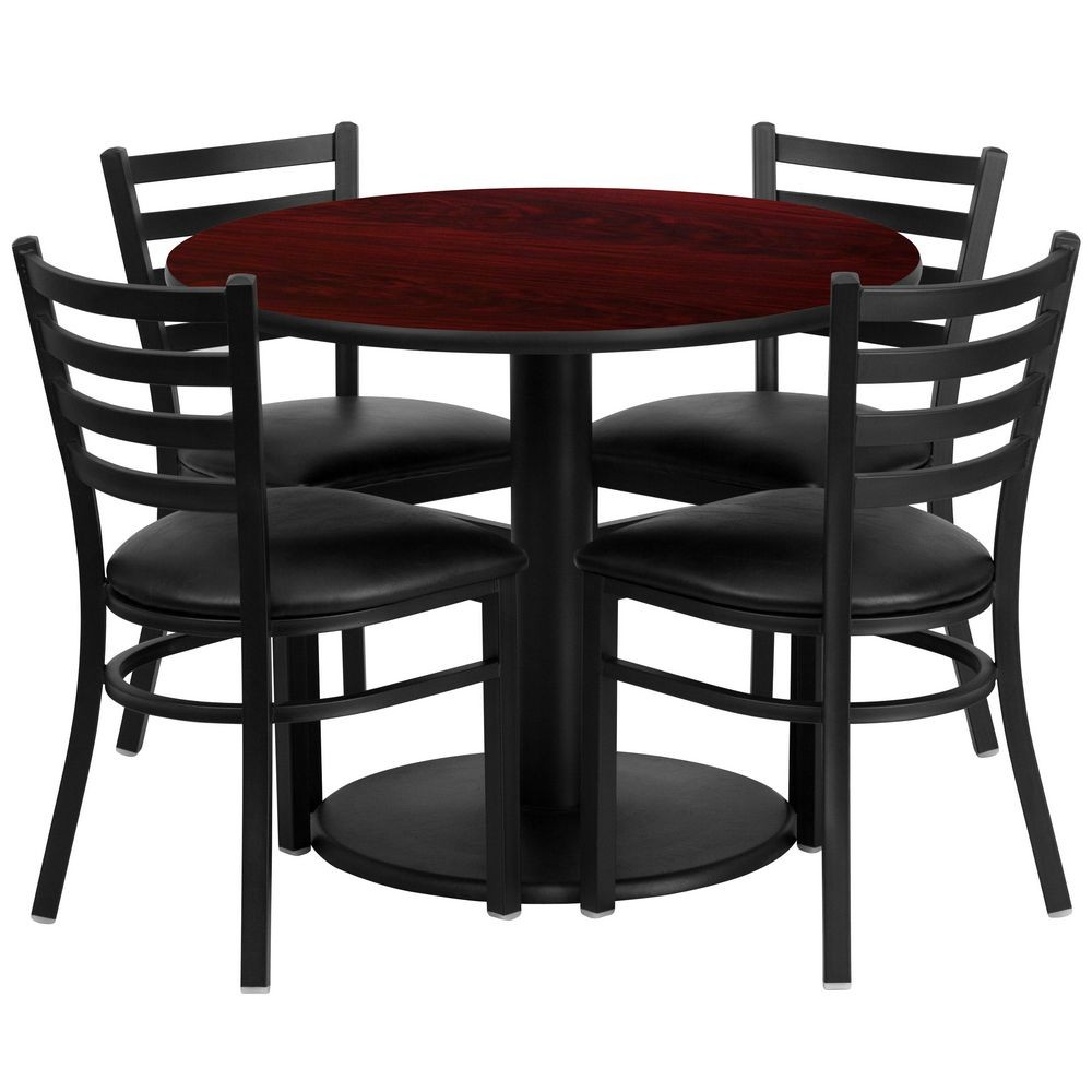 Flash Furniture RSRB1030-GG Round Mahogany Laminate Table Set with 4 Ladder Back Metal Chairs - Black Vinyl Seat 36""