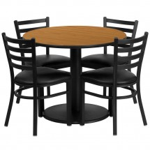 Flash Furniture RSRB1031-GG 36'' Round Natural Laminate Table Set with 4 Ladder Back Metal Chairs - Black Vinyl Seat
