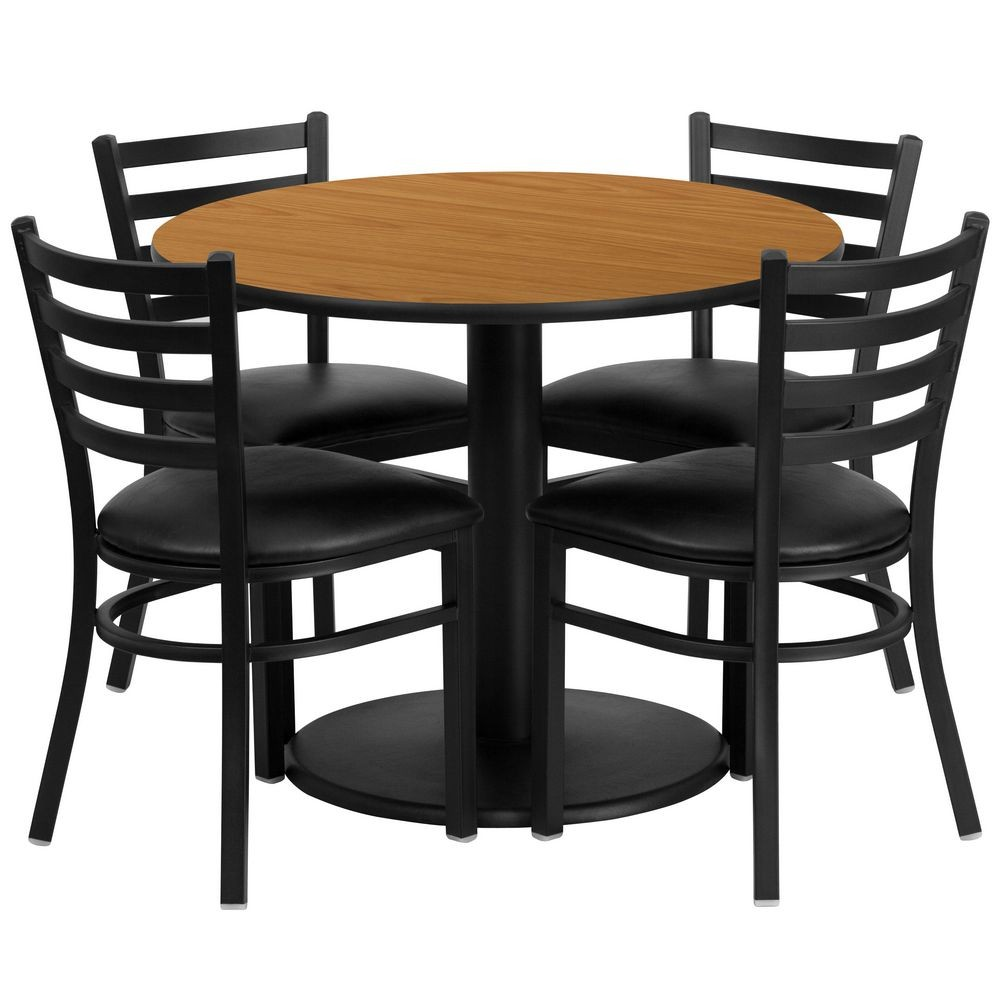 Flash Furniture RSRB1031-GG Round Natural Laminate Table Set with 4 Ladder Back Metal Chairs - Black Vinyl Seat 36""