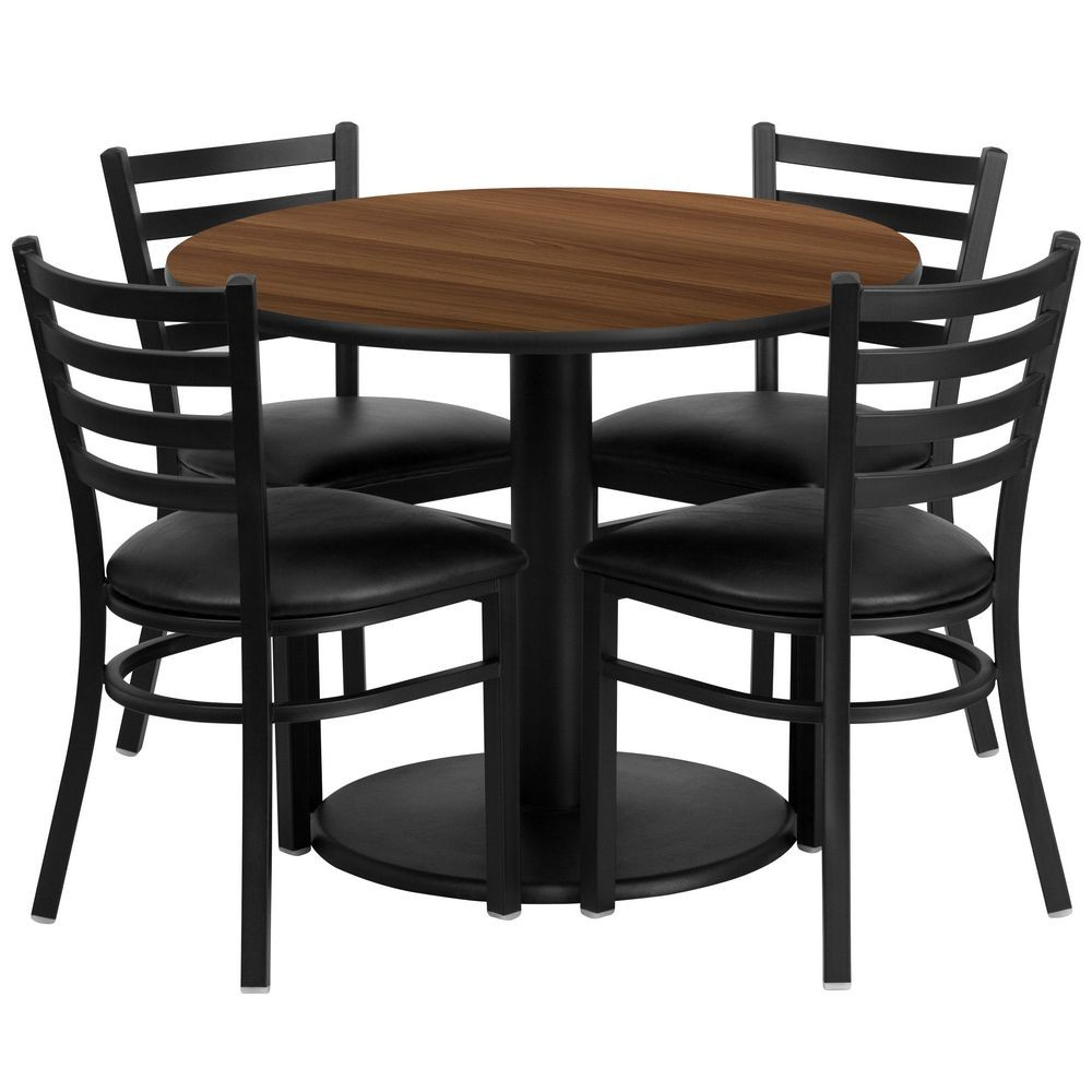 Flash Furniture RSRB1032-GG Round Walnut Laminate Table Set with 4 Ladder Back Metal Chairs - Black Vinyl Seat 36""