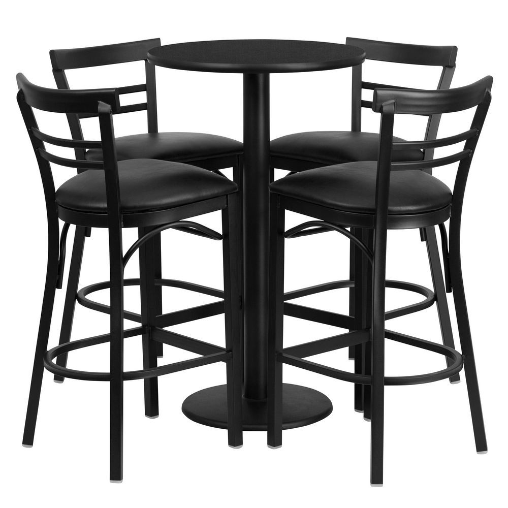Flash Furniture RSRB1033-GG Round Black Laminate Table Set with 4 Ladder Back Bar Stools - Black Vinyl Seat 24""