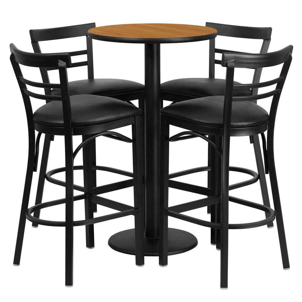 Flash Furniture RSRB1035-GG Round Natural Laminate Table Set with 4 Ladder Back Metal Bar Stools - Black Vinyl Seat 24""