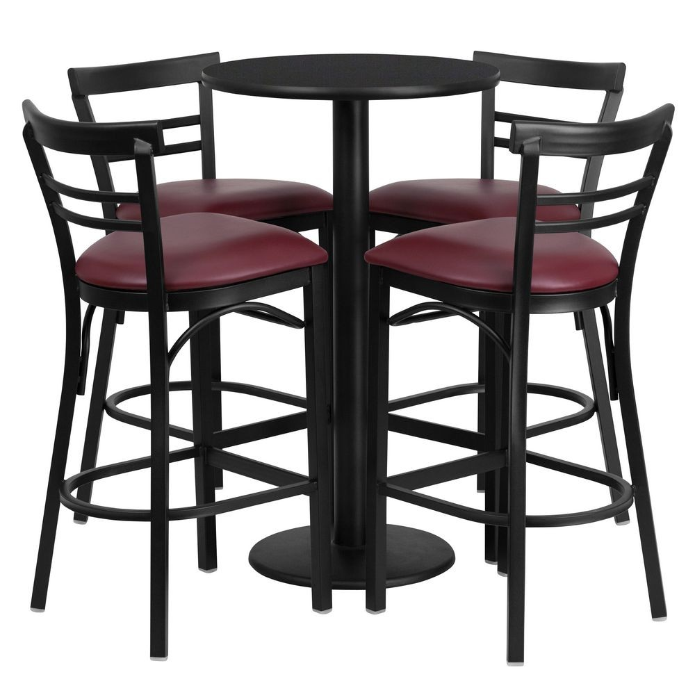 Flash Furniture RSRB1037-GG Round Black Laminate Table Set with 4 Ladder Back Metal Bar Stools - Burgundy Vinyl Seat 24""