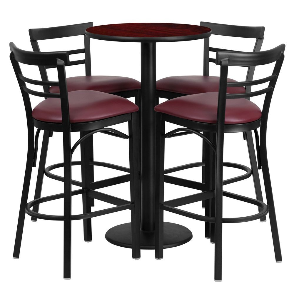 Flash Furniture RSRB1038-GG 24'' Round Mahogany Laminate Table Set with 4 Ladder Back Metal Bar Stools - Burgundy Vinyl Seat