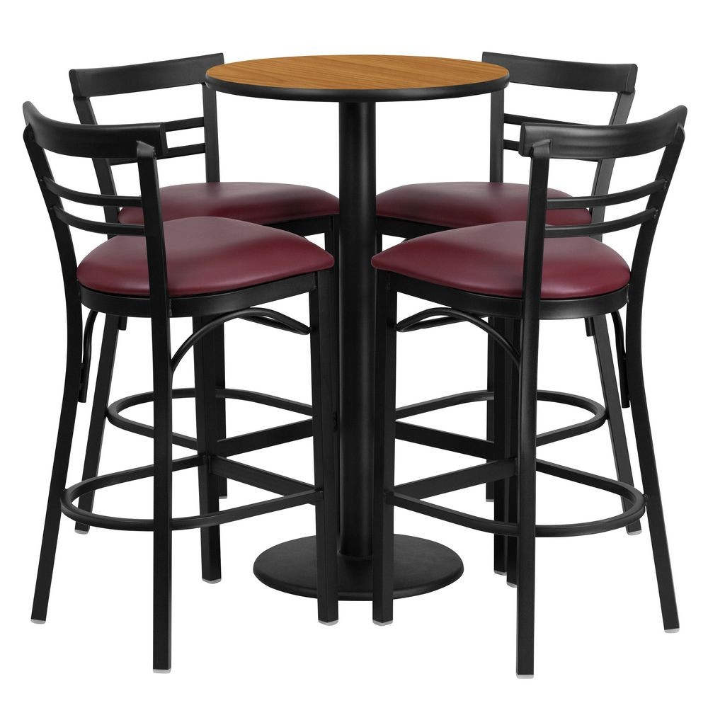 Flash Furniture RSRB1039-GG Round Natural Laminate Table Set with 4 Ladder Back Metal Bar Stools - Burgundy Vinyl Seat 24""