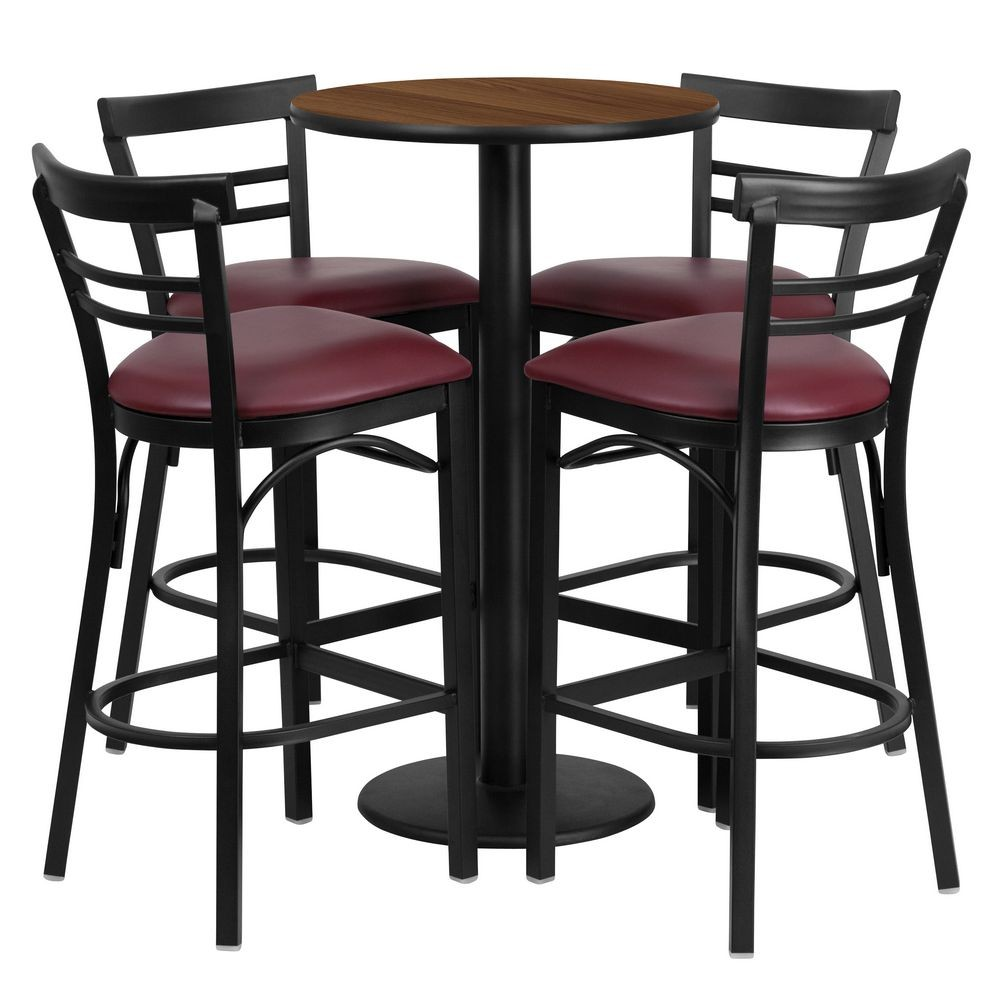 Flash Furniture RSRB1040-GG Round Walnut Laminate Table Set with 4 Ladder Back Metal Bar Stools - Burgundy Vinyl Seat 24""