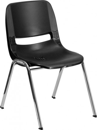 "Flash Furniture RUT-14-BK-CHR-GG HERCULES Series 440 Lb. Capacity Black Ergonomic Shell Stack Chair with Chrome Frame, 14"" Seat Height"