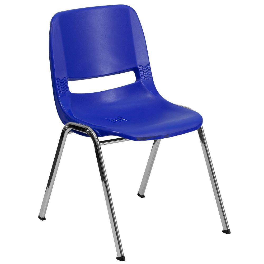 "Flash Furniture RUT-14-NVY-CHR-GG HERCULES Series 440 Lb. Capacity Navy Ergonomic Shell Stack Chair with Chrome Frame, 14"" Seat Height"