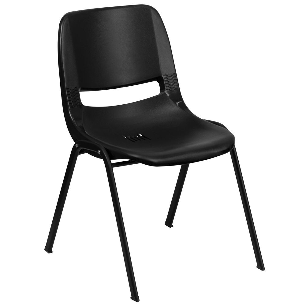 Flash Furniture RUT-14-PDR-BLACK-GG HERCULES Series 440 Lb. Capacity Black Ergonomic Shell Stack Chair with Black Frame, 14'' Seat Height