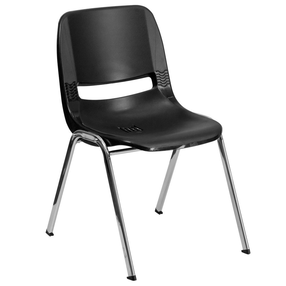 Flash Furniture RUT-18-BK-CHR-GG HERCULES Series 880 Lb. Capacity Black Ergonomic Shell Stack Chair with Chrome Frame, 18'' Seat Height