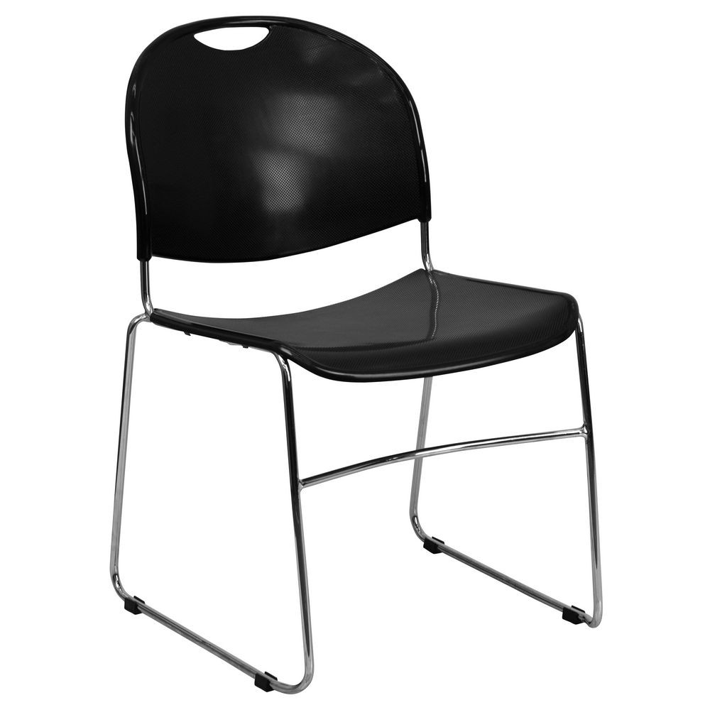 Flash Furniture RUT-188-BK-CHR-GG HERCULES Series 880 lb. Capacity Black High Density Ultra Compact Stack Chair with Chrome Frame