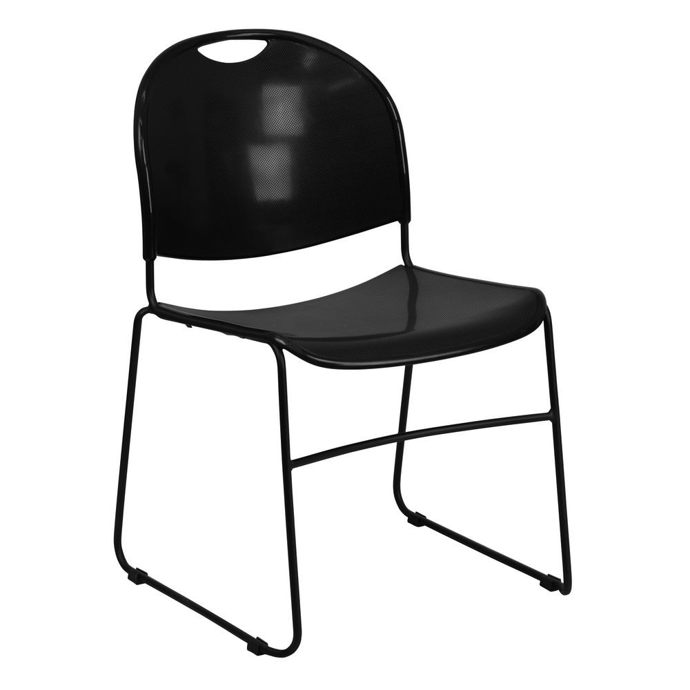 Flash Furniture RUT-188-BK-GG HERCULES Series 880 lb. Capacity Black High Density Ultra Compact Stack Chair with Black Frame