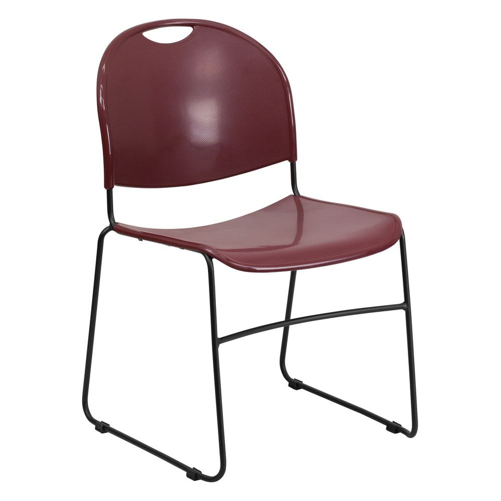 Flash Furniture RUT-188-BY-GG HERCULES Series 880 lb. Capacity Burgundy High Density Ultra Compact Stack Chair with Black Frame
