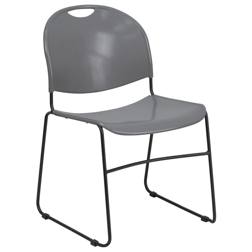 Flash Furniture RUT-188-GY-GG HERCULES Series 880 lb. Capacity Gray High Density Ultra Compact Stack Chair with Black Frame