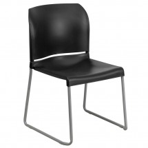 Flash Furniture RUT-238A-BK-GG HERCULES Series 880 lb. Capacity Black Full Back Contoured Stack Chair with Sled Base