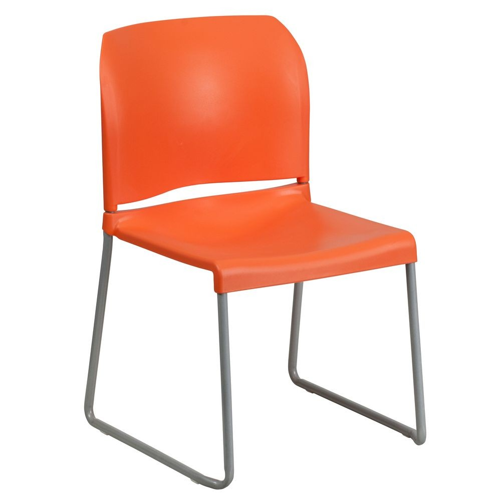 Flash Furniture RUT-238A-OR-GG HERCULES Series 880 Lb. Capacity Orange Full Back Contoured Stack Chair with Sled Base