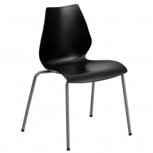 Flash Furniture RUT-288-BK-GG HERCULES Series 770 Lb. Capacity Black Stack Chair with Lumbar Support and Silver Frame