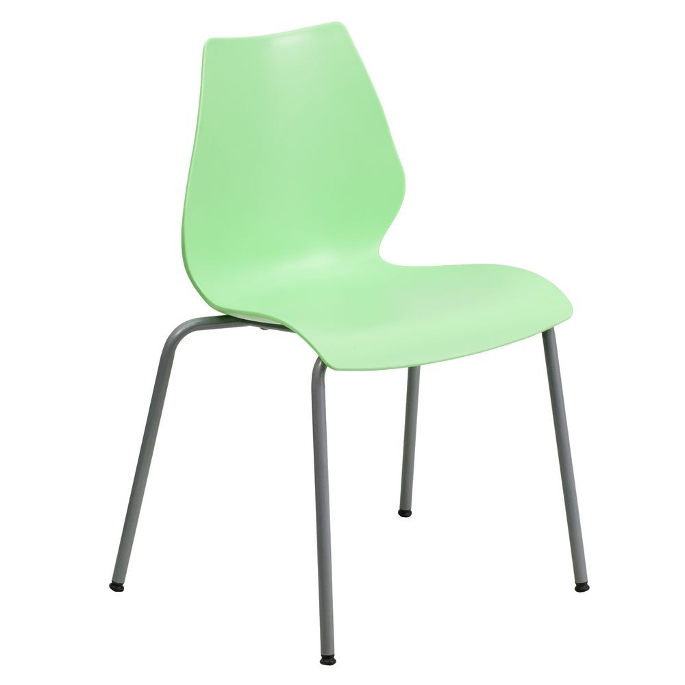 Flash Furniture RUT-288-GREEN-GG HERCULES Series 770 Lb. Capacity Green Stack Chair with Lumbar Support and Silver Frame