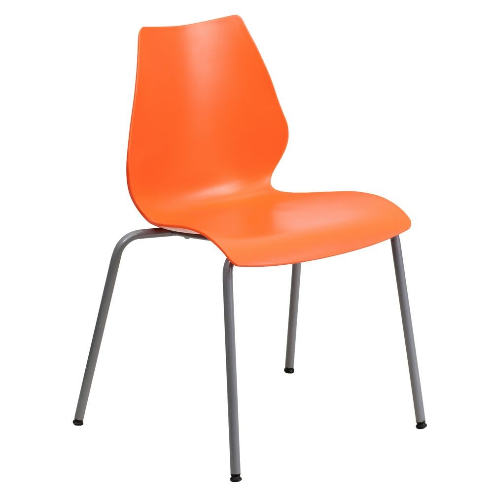 Flash Furniture RUT-288-ORANGE-GG HERCULES Series 770 Lb. Capacity Orange Stack Chair with Lumbar Support and Silver Frame