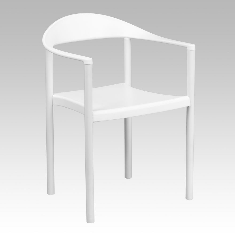 Flash Furniture RUT-418-WH-GG HERCULES Series 1000 lb. Capacity White Plastic Cafe Stack Chair